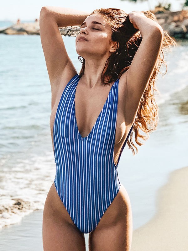 8be2e47c97c Striped Backless V Neck One Piece Swimsuit